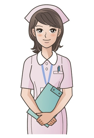 hospital staff: Young cute nurse with clipboard smiling, putting the hands together   Gradients used