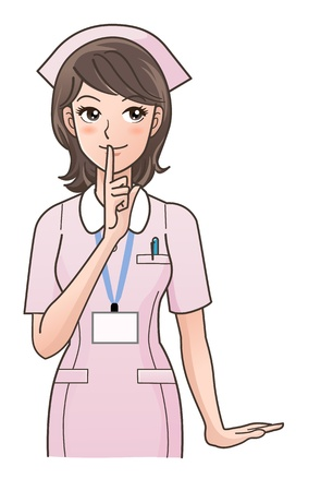 Cute nurse posing to ask silence in pink uniform Gradients used