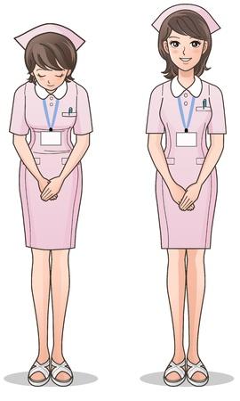 enfermera con cofia: Enfermera joven lindo en el cuidado de la salud rosado Sonriendo y saludando, casquillo de la enfermera, enfermera de la historieta aislado en blanco gradientes usados