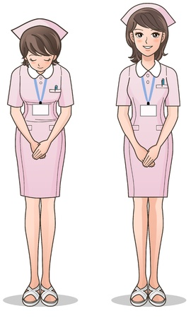 cartoon nurse: Young cute Nurse in pink Smiling and greeting  health care, Nurse cap, Cartoon Nurse  isolated on white  Gradients used