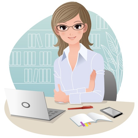 Confident woman at office with laptop computer, mobile phone, and schedule notebook Gradients, Blending tool, Clipping mask is used  Vector