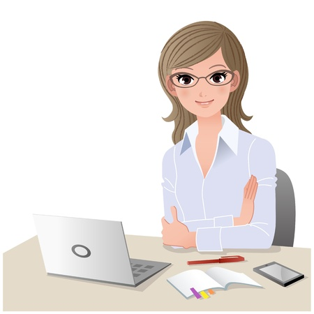 Young woman wearing glasses at desk with laptop computer and mobile phone  Copy space Gradient, Blending tool is used