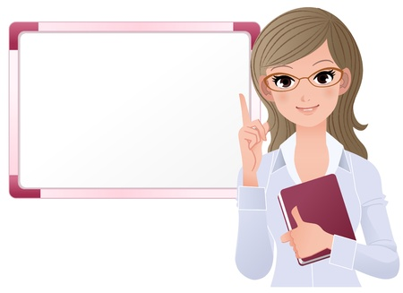 Woman pointing up with index finger over white board Gradients, Blending tool is used