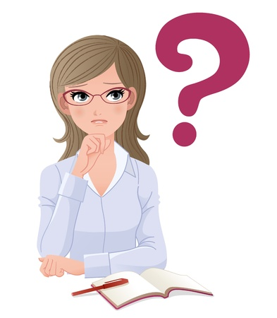 thinking student: Eyewear glasses woman with question mark on white background Gradients, Blending tool used  Illustration