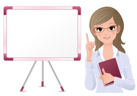 presentation board: Cute woman lecturing besides white board Gradients, Blending tool is used