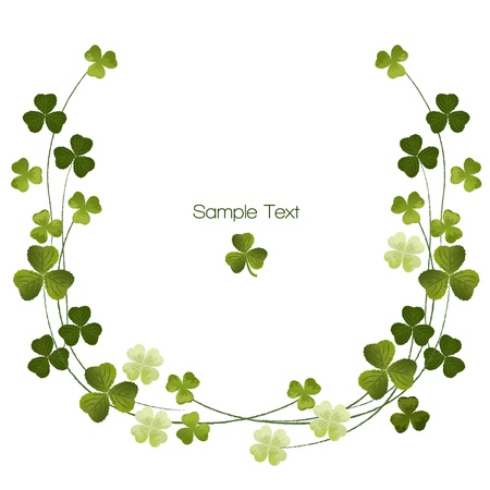 Shamrocks border decoration.Clover. For St.Patric day.Using Clipping mask, transparency. EPS10. Vector