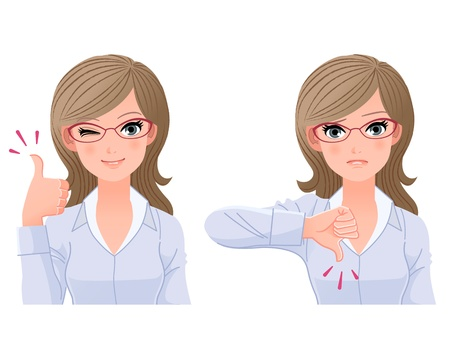 Eyewear glasses woman posing thumbs-up and down File contains Gradients,Clipping mask, Blendng tool  Vector