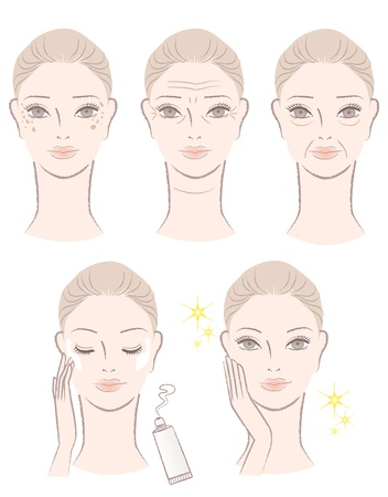 wrinkles: Beautiful woman with aging troubles - wrinkles,  sags, spots   Applying whitening lotion after treatment and getting final result  Illustration