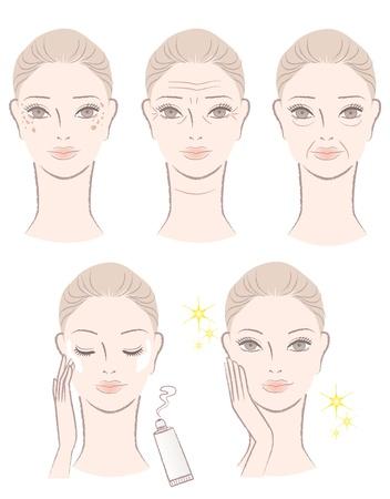 Hermosa mujer con problemas de envejecimiento - arrugas, manchas, caídas Aplicar loción para blanquear después del tratamiento y conseguir resultado final Ilustración de vector