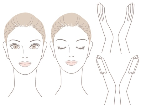 close up face: Beautiful woman head and hands with without cotton seat  For facialcare  Illustration