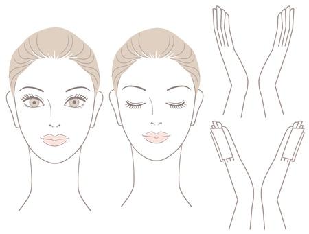 Mujer hermosa cabeza y las manos con algodón sin asiento para facialcare