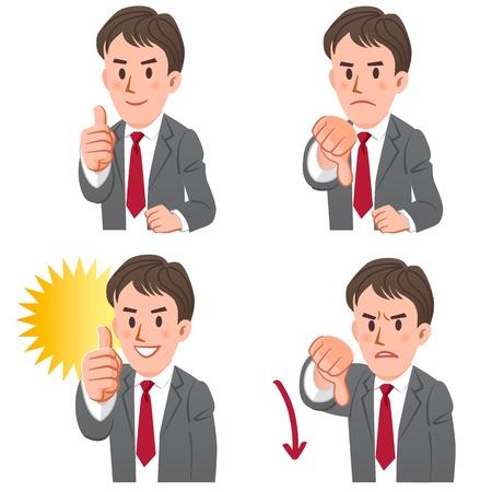 Set van zakenman uitdrukken acceptatie en afwijzing met de hand teken, duimen omhoog en omlaag EPS10