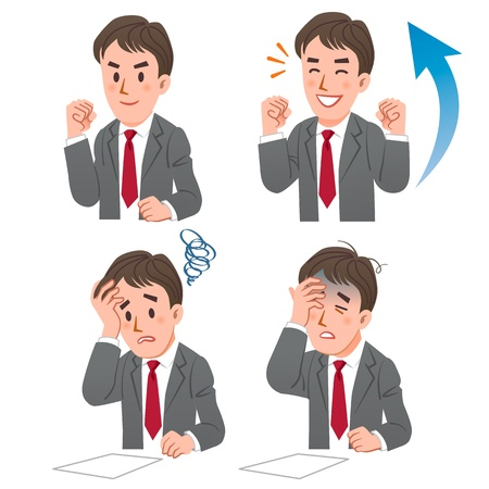 Set of businessman expressing rejoicing and baffling moments.File contains Gradients.  Illustration
