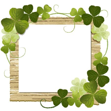 Clover decoration frame on wooden board with copy space File contains Gradients, Transparency  Vector
