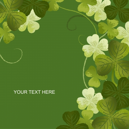 irish background: Clover decoration corner for greeting card with copy space.File contains Clipping masks, Gradients, Transparency.  Illustration
