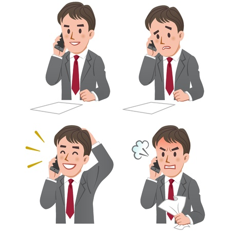 frustrated: Set of businessman expression talking on the phone. Illustration