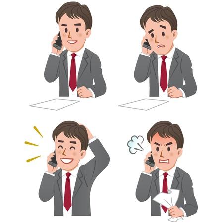 Set van zakenman uitdrukking praten aan de telefoon.