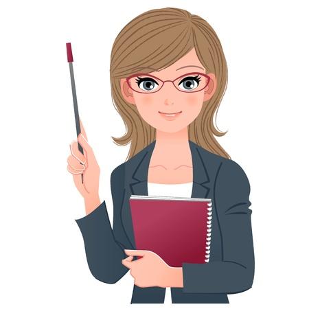 Smart weibliche Lehrkraft hält Zeiger-Stick und Notebook Download EPS-Datei enthält Blending Tool, Gradienten, Clipping-Maske Vektorgrafik