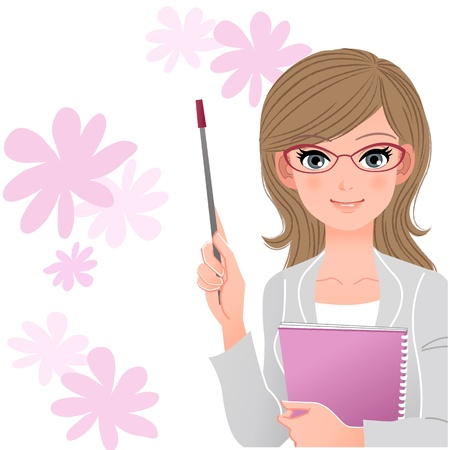 Pretty woman holding pointer stick and spiral Notebook on spring flowers Download file contains Blending tool, Gradients, Clipping mask
