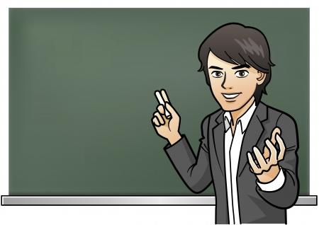 Passionate cram school leraar lezingen over krijt board.Preparatory scholen voor examens van goede school.Japan 's Bijzondere cultuur.