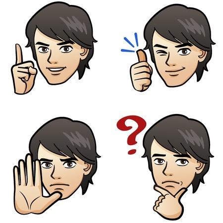Cartoon Knappe man die verschillende emoties met de hand tekenen op een witte achtergrond Japanse manga-stijl Stock Illustratie