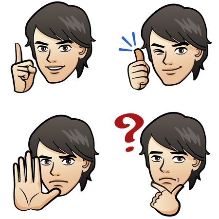 Cartoon Handsome man expressing different emotion with hand signs on white background Japanese manga style