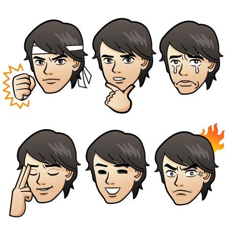 Cartoon Handsome man expressing different emotion variation  on white background Japanese manga style   イラスト・ベクター素材