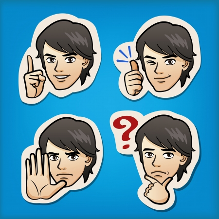 manga style: Cartoon Handsome man expressing different emotion with hand signs. Japanese manga style.