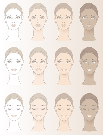 skin care woman: Chart of Beautiful Woman complexion -  Without skin color and three complexion tones.