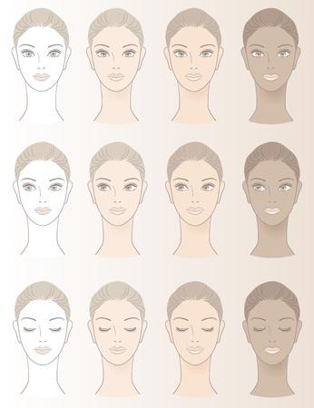 couleur de peau: Tableau de teint Beautiful Woman - Sans couleur de peau et trois tons du teint. Illustration