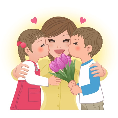 mums: Boy and girl giving mom kisses on mothers day   Tulip bouquet  Illustration