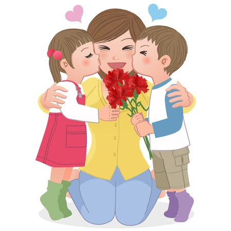 Boy and girl giving mom kisses on mothers day.  Carnation flower bouquet. Vector