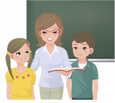 Leraar lezen hardop voor haar leerlingen Beelden van meisje en jongen zijn zonder clopping, resterende uitknipmasker