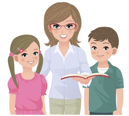 adults learning: Young school teacher and happy pupils together girl and boy images are without clopping, containing clipping mask