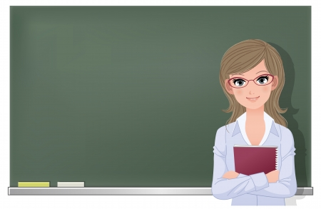 blackboard cartoon: Cute female school teacher holding spiral notebook at blackboard in classroom  File contains Gradient mesh, Gradients, Transparency