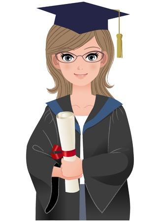 graduacion caricatura: Graduado femenino feliz en vestido académico del archivo diploma explotación se encuentren degradados, herramienta Mezcla y transparencia Vectores