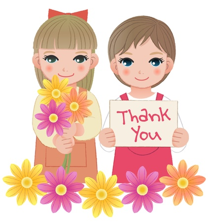 Young little girls holding thank you sign and flowers  For Mother Vector