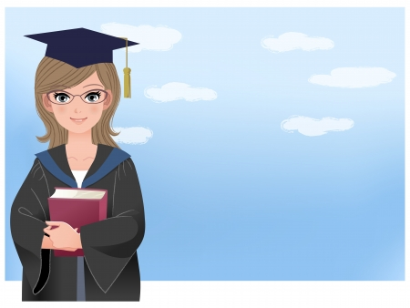 Happy graduate holding book against blue sky background  File contains Gradients,Gradient mesh, Blending tool and Transparency  Vector