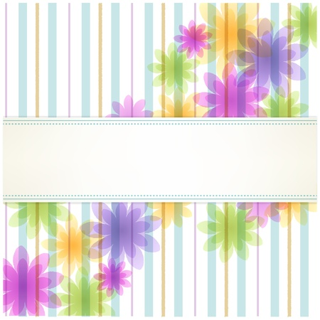 clipping mask: Stripe floral background with copy space File contains Transparency, Gradients  Clipping mask remained with uncropped flowers