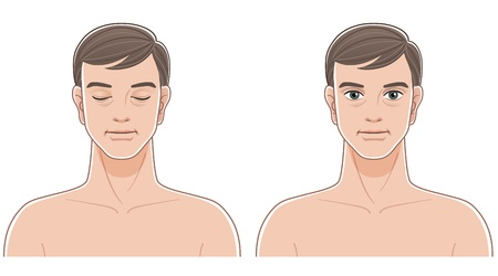 Front portraits of middle aged man with eyes closed and opened  Naked upper body  File contains Transparency, Blending Tool, and Clipping mask   Stock Vector - 19973264