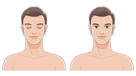 Front portraits of young man with eyes closed and opened  Naked upper body  File contains Transparency, Blending Tool, and Clipping masks   Vector