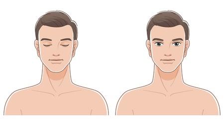 Ritratti frontali di giovane uomo con gli occhi chiusi e aperti Nudo file superiore del corpo contiene trasparenza, Blending Tool, e le maschere di ritaglio Archivio Fotografico - 19973268