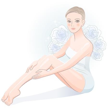 Bella donna spa giovane seduto e massaggiare le gambe isolato su bianco file contiene sfumature, trasparenza, utensili di miscelazione Archivio Fotografico - 20365313