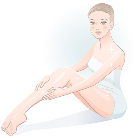 Beautiful young spa woman smiling in wrapped towel after treatment File contains Gradients, Transparency, Blending Tool