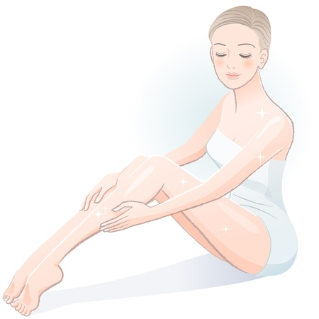 Beautiful spa woman sitting and touching legs after body treatment File contains Gradients, Transparency, Blending Tool