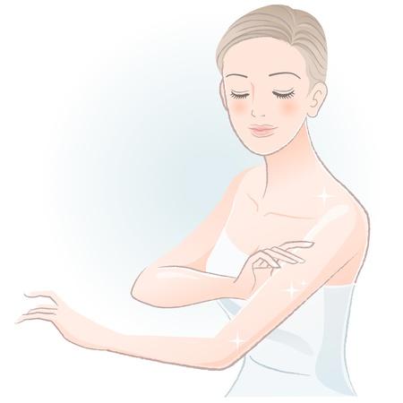 Giovane donna spa sfiorando braccia, prendersi cura del suo corpo File contiene sfumature, trasparenza, utensili di miscelazione Archivio Fotografico - 20365552