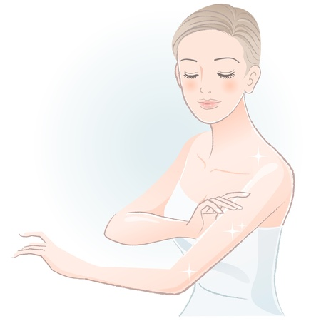 Young spa woman gently touching arms, taking care of her body File contains Gradients, Transparency, Blending Tool  Illustration