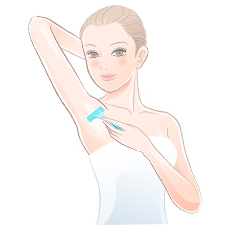 axillary: Beautiful young woman    applying razor to the shaving armpit.File contains Gradients, Transparency, Blending Tool(expanded). Illustration