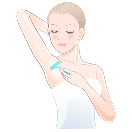 axillary: Portrait of pretty woman shaving underarm with razor.File contains Gradients, Transparency, Blending Tool(expanded). Illustration
