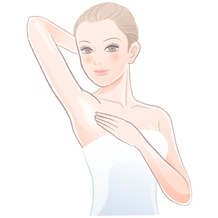 axillary: Portrait of Beautiful woman touching her underarm File contains Gradients, Transparency, Blending Tooll expanded
